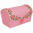 Papercraft imprimible y recortable de una caja de regalo rosa con flores. Manualidades a Raudales.