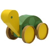 Papercraft de una Tortuga propulsada por goma elástica. Manualidades a Raudales.