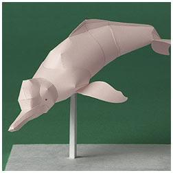 Papercraft recoratble del delfín rosado del Amazonas. Manualidades a Raudales.