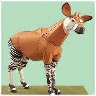Papercraft imprimible y armable de un okapi. Manualidades a Raudales.