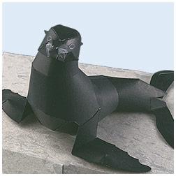 Papercraft recortable del Lobo marino de Juan Fernández. Manualidades a Raudales.