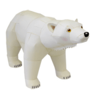 Papercraft imprimible y armable de un Oso Polar. Manualidades a Raudales.