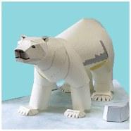 Papercraft imprimible y armable de un Oso Polar / Polar Bear. Manualidades a Raudales.