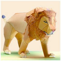 Papercraft imprimible y armable de un león / lion. Manualidades a Raudales.