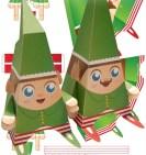 Papercraft imprimible y armable de los Elfos de Santa Claus. Manualidades a Raudales.