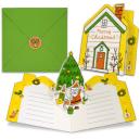 Tarjeta desplegable del árbol de Papa Noel. Manualidades a Raudales.