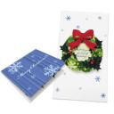 Tarjeta desplegable de una corona de Navidad. Manualidades a Raudales.