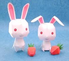 Papercraft imprimible y recortable de conejos blancos. Manualidades a Raudales.