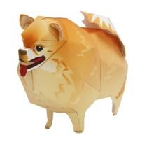 Papercraft imprimible y armable de un Perro Pomerania / Pomeranian Dog.  Manualidades a Raudales.
