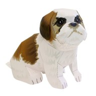 Papercraft imprimible y armable de un Perro Shih Tzu / Shih Tzu Dog. Manualidades a Raudales.