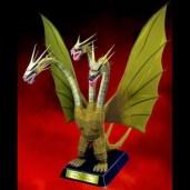 Papercraft imprimible y armable del dragón King Gidorah. Manualidades a Raudales.