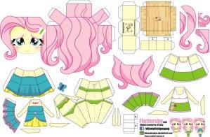 Papercraft de Anime - Fluttershy. Manualidades a Raudales.