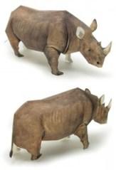 Papercraft imprimible y armable de un rinoceronte / rhinoceros. Manualidades a Raudales.