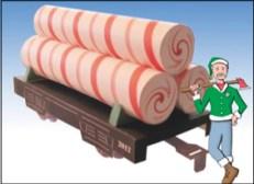 Papercraft imprimible y armable del vagón con caramelos de Santa Claus. Manualidades a Raudales.