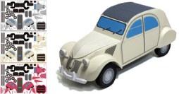 Papercraft del coche Citroen 2CV. Manualidades a Raudales.