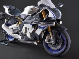 Papercraft imprimible y armable de la motocicleta Yamaha YZF-R1M. Manualidades a Raudales.