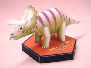Papercraft de un Dinosaurio Triceratops. Manualidades a Raudales.