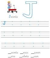 Ficha de grafomotricidad de la letra j. Manualidades a Raudales.