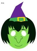 Máscara de Halloween de una bruja. Manualidades a Raudales.