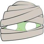 Máscara de Halloween de una momia. Manualidades a Raudales.