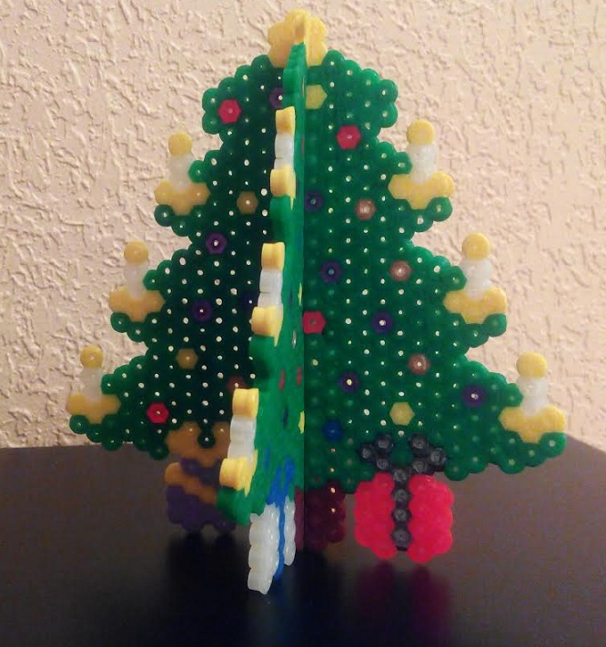 Plantilla para hacer rbol de Navidad 3D con hamabeads midi