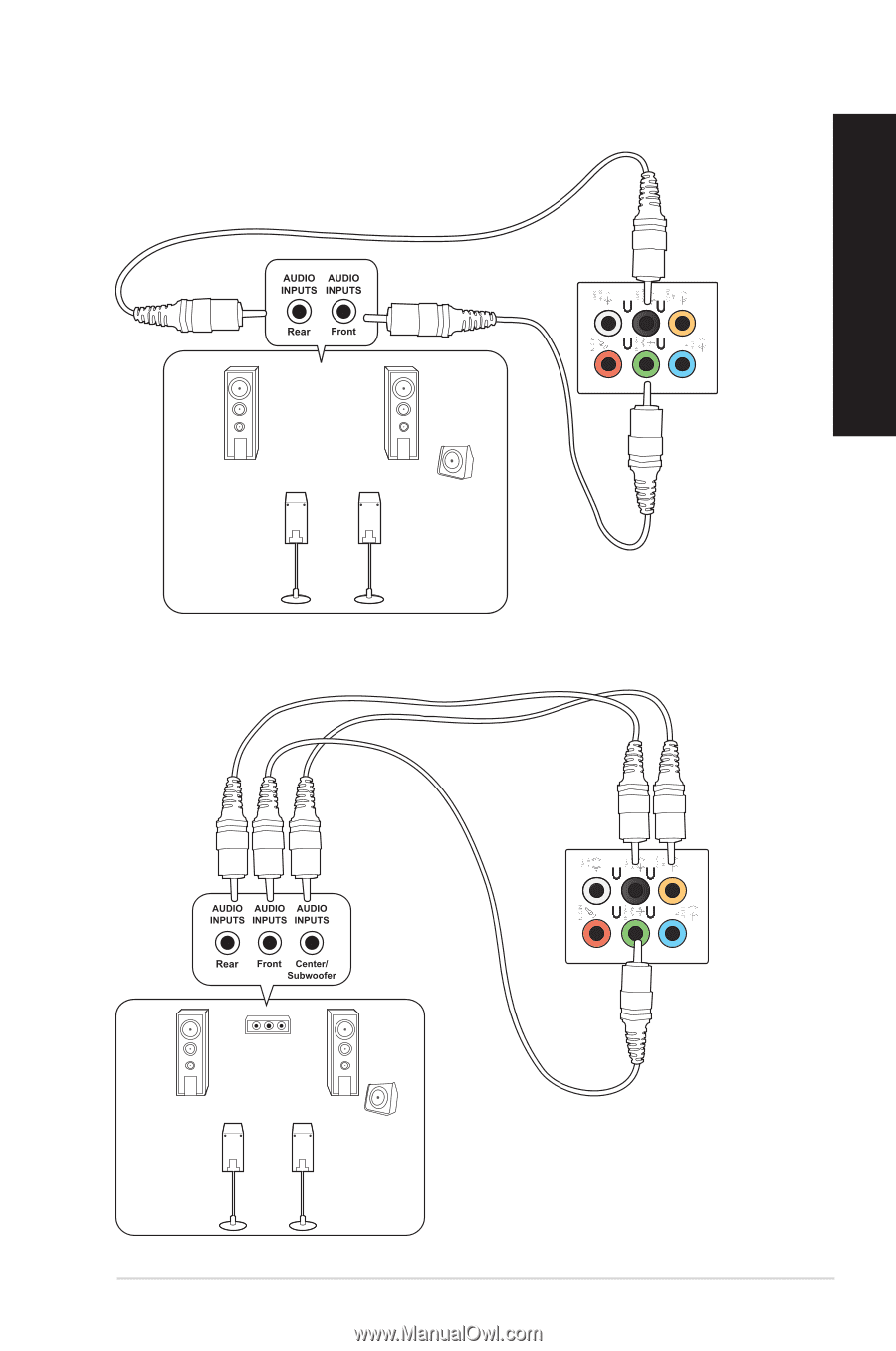 Connecting 4-channel Speakers, Connecting 5.1-channel