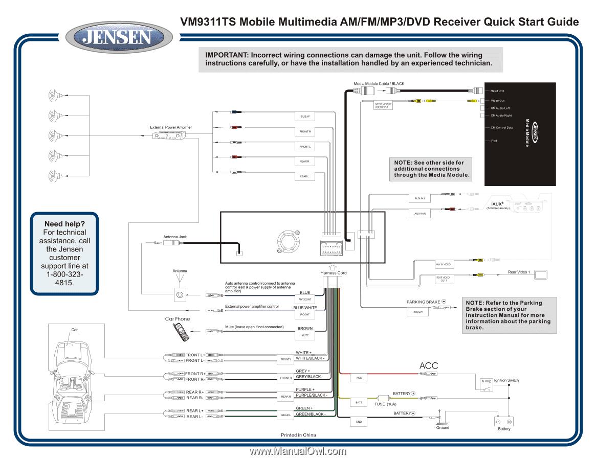 jensen wiring diagram vm9311 2001 nissan frontier vm9311ts quick start guide