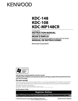 Kenwood KDC108   Instruction Manual