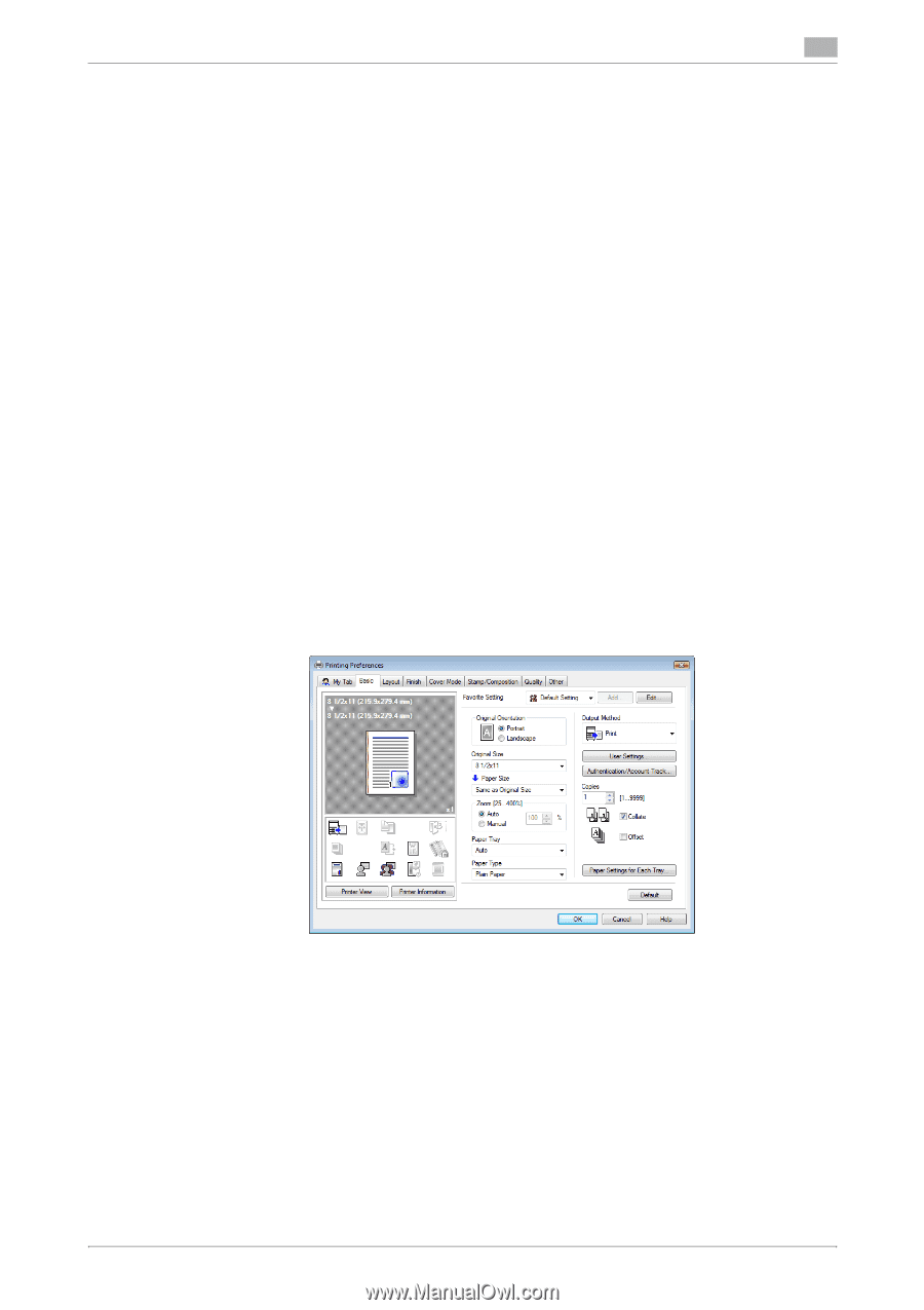Printing a document on the machine for which Account Track