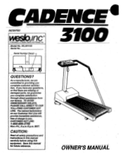 Weslo Cadence 3100 Manual