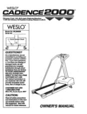 Weslo Cadence 2000 Manual