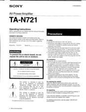 Sony TA-N721 Manual