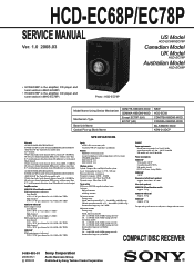Sony HCD-EC68P Manual