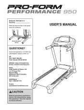 ProForm Performance 950 Treadmill Manual