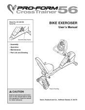 ProForm Crosstrainer 56 Bike Manual