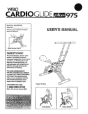 Weslo Cardio Glide Plus 975 Manual