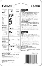 Canon LS-270H Manual