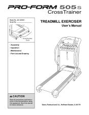 ProForm Crosstrainer 505s Treadmill Manual