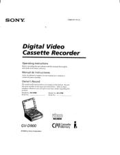 Sony GV-900E - Video Walkman Manual