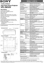 Sony VPLSW525 Manual