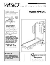 Weslo Cadence Dl15 Treadmill Manual