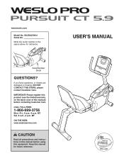 Weslo Pro Pursuit5.9 Bike Manual