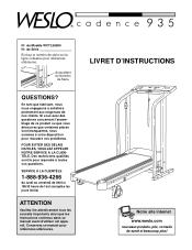 Weslo Cadence 935 Treadmill Manual