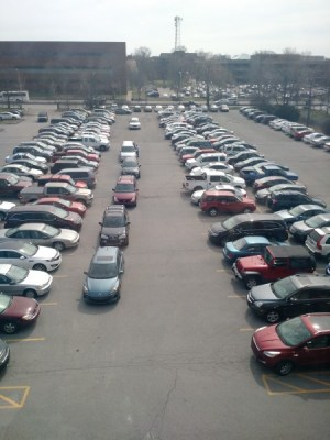 Manual's always full parking lot shows that seniors are taking advantage of the low gas prices. Photo by author.
