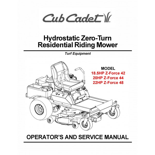 Cub Cadet Zero Turn Z Force 48 Wiring Diagram : 45 Wiring