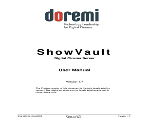 Doremi ShowVault / IMB manuals