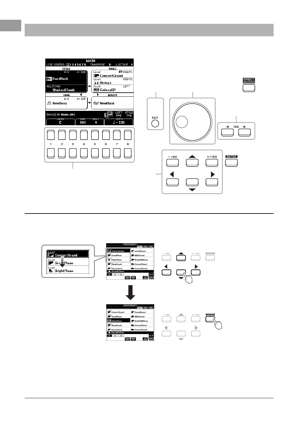 Display-based controls, Cursor buttons [ ][ ][ e ][ f