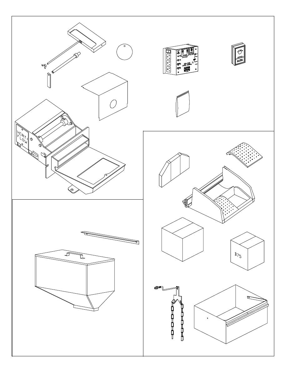 Packing list, Parts inside stove parts inside hopper box