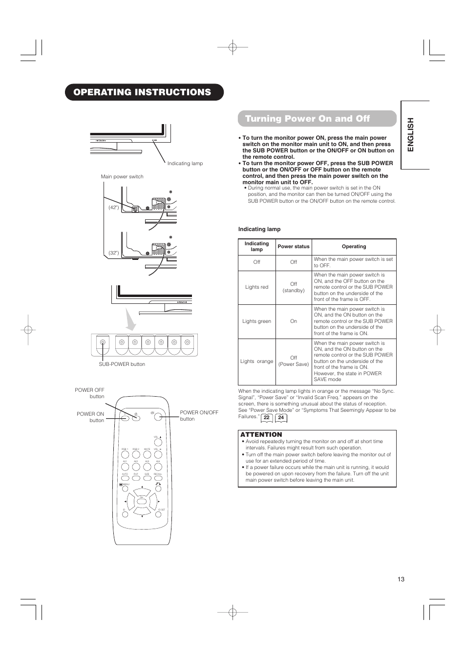 Operating instructions turning power on and off, English