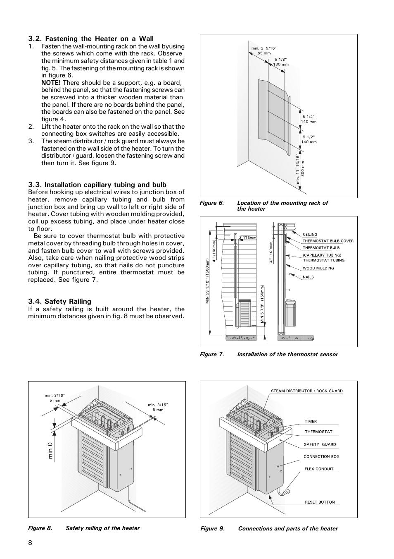 Fastening the heater on a wall, Installation capillary
